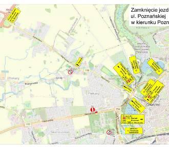 Gniezno. Ulica Poznańska częściowo zamknięta. Zobacz objazdy!