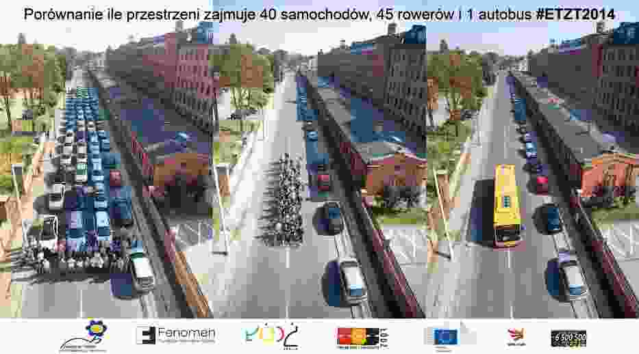 Na ul. Tymienieckiego sfotografowano 40 samochodów, 45 rowerzystów i 1 autobus.