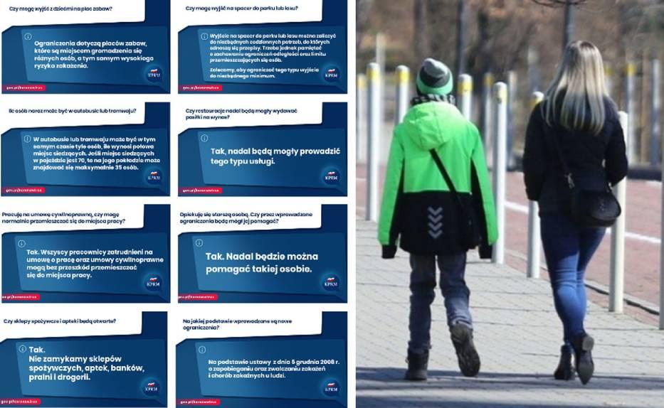 Zakaz wychodzenia z domów! Co można, a czego nie? Sprawdź grafiki przygotowane przez Kancelarię Prezesa Rady Ministrów >>>