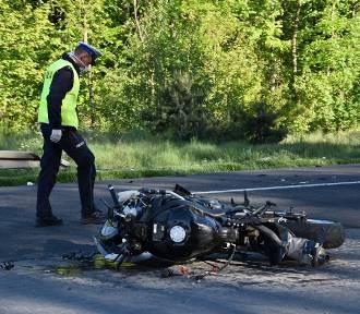 Wypadek z udziałem motocyklisty na drodze Grodzisk - Opalenica