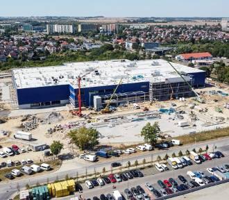 Tak wygląda plac budowy sklepu IKEA w Szczecinie. ZDJĘCIA z lotu ptaka