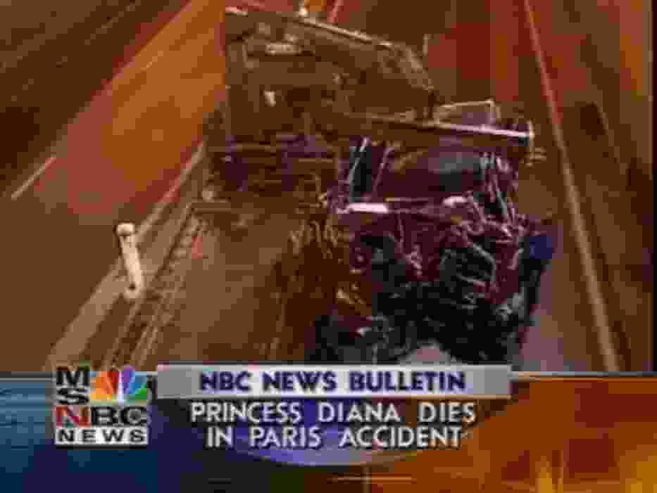 Zdjęcia wraku Mercedesa w paryskim tuneli Alma (http://www