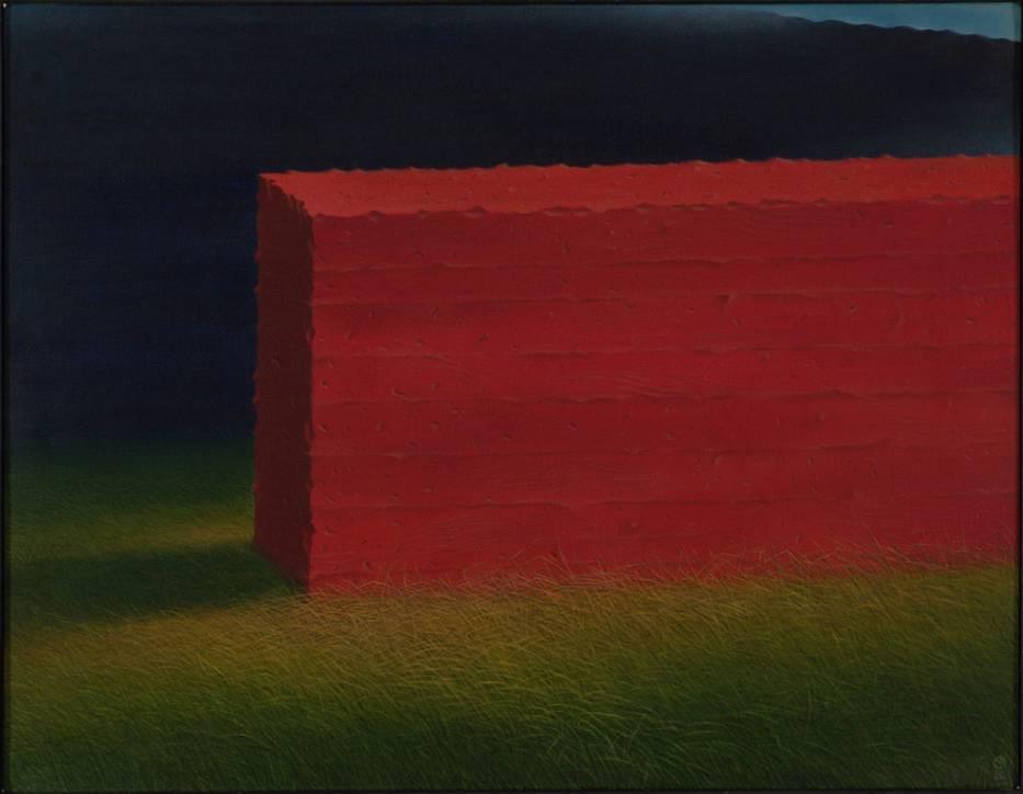 Marian Kępiński, Miejsce dla Prometeusza, 1980, akryl, płótno - jedna z prac prezentowanych na wystawie w Galerii Willa