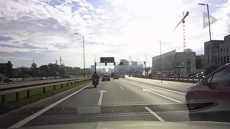 Motocyklista na DTŚ w Katowicach