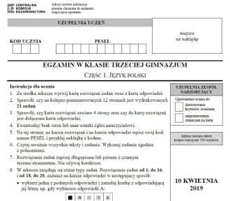Egzamin gimnazjalny 2019 - j. polski [arkusz, odpowiedzi]
