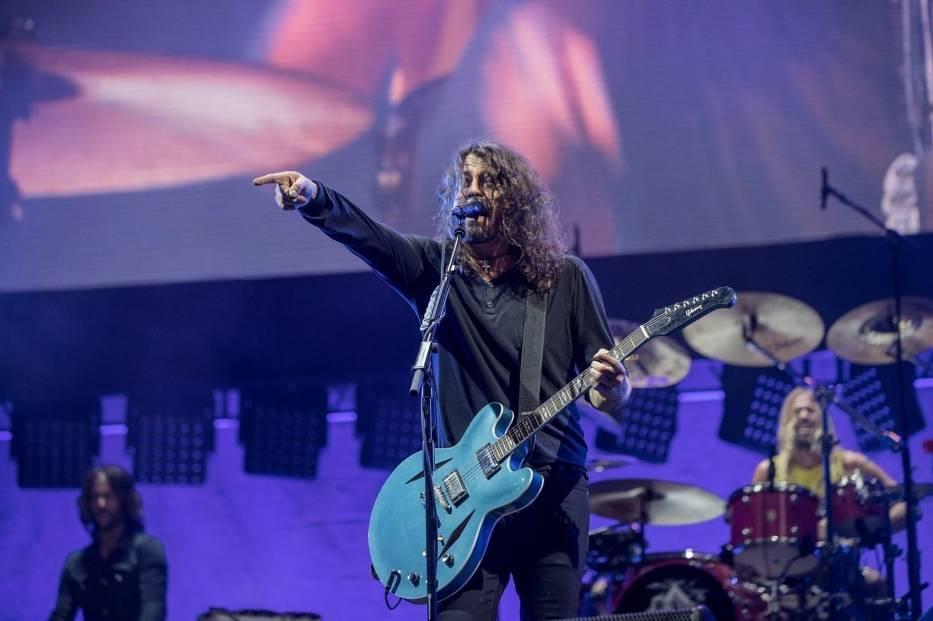 Dave Grohl podczas koncertu w Gdyni