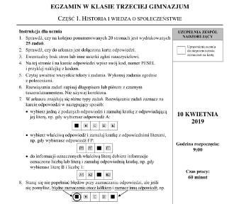 Egzamin gimnazjalny 2019 ARKUSZE CKE HISTORIA i WOS: ODPOWIEDZI z części humanistycznej 10 04