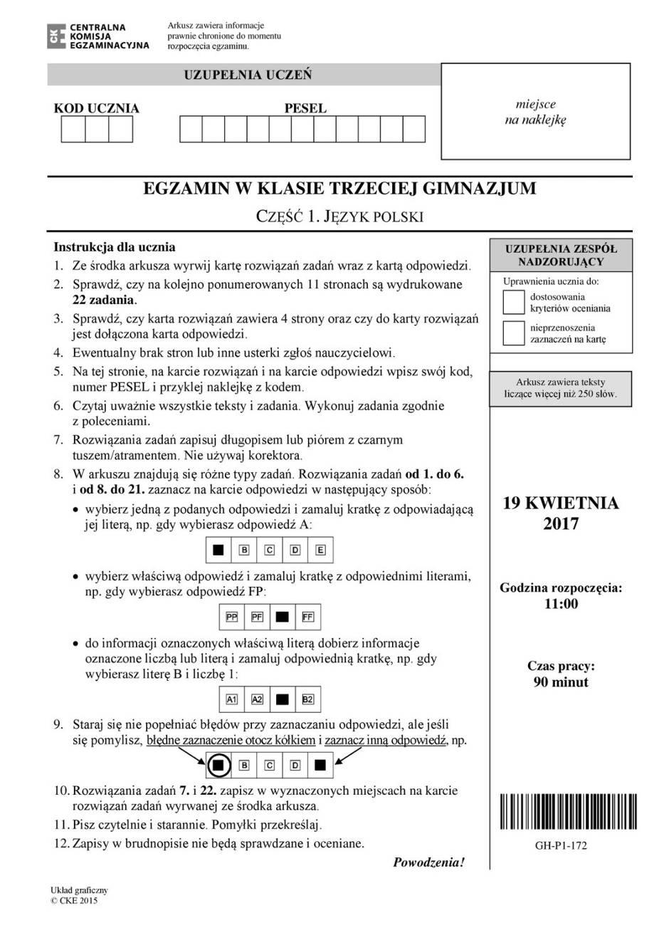 Prezentujemy arkusze z dzisiejszego egzaminu gimnazjalnego 2017 z języka polskiego