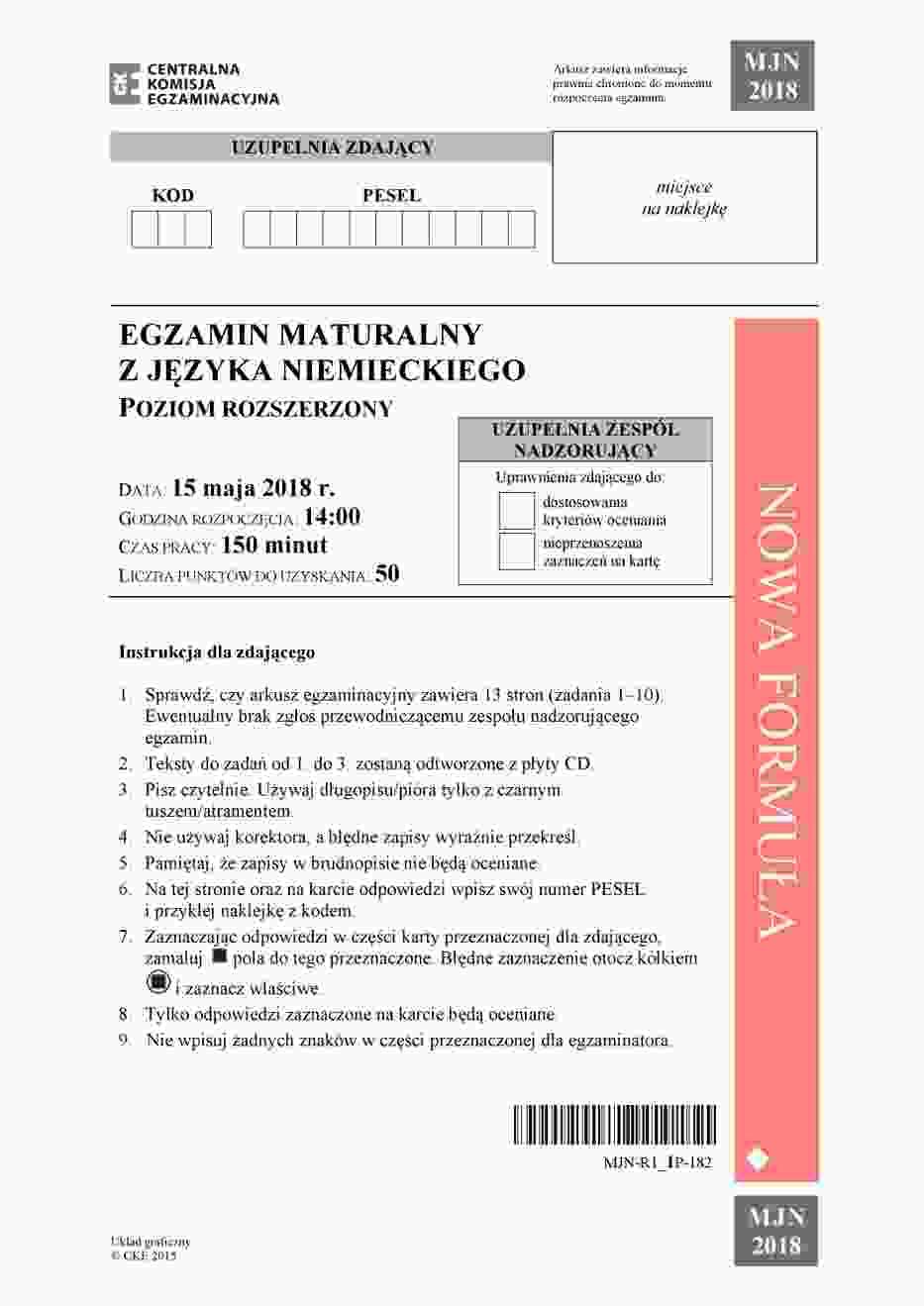 Matura Niemiecki 2018 rozszerzony Arkusz CKE, Odpowiedzi