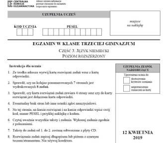 Egzamin gimnazjalny - j. niemiecki rozszerzony [odpowiedzi]