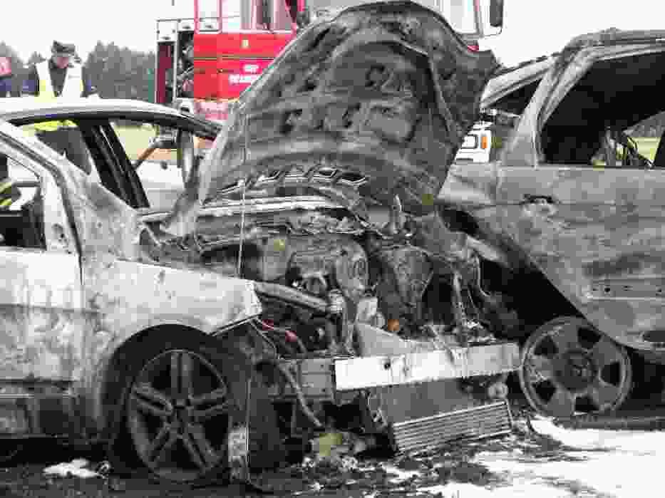 Wypadek w Chojnie - Spłonęły auta