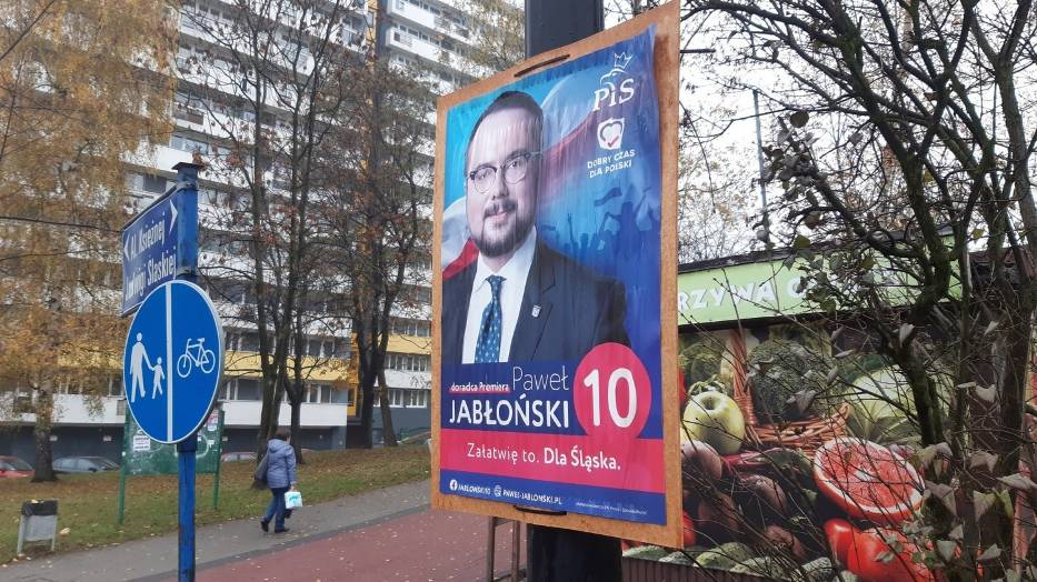 Plakat wyborczy Pawła Jabłońskiego przy ul