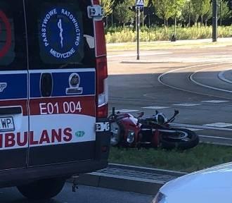 Wypadek motocyklisty na Kilińskiego w Łodzi [ZDJĘCIA]