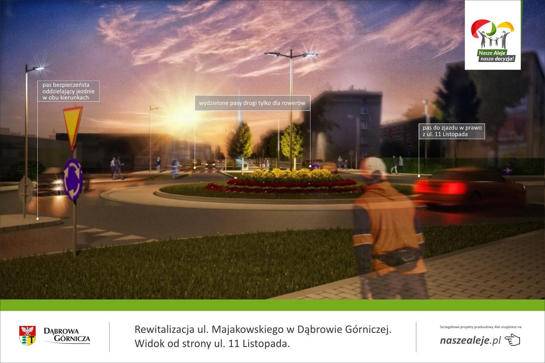 Aleje Majakowskiego Dąbrowa Górnicza projekt przebudowy