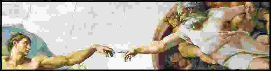 """""""Stworzenie Adama"""" Michał Anioł- fragment fresku znajdującego się we wnętrzu Kaplicy Sykstyńskiej w Watykanie"""
