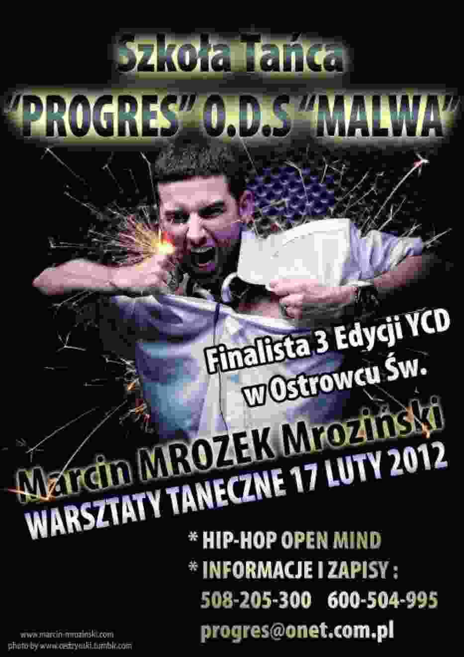 Plakat zapowiadający warsztaty prowadzone przez Marcina Mrozińskiego