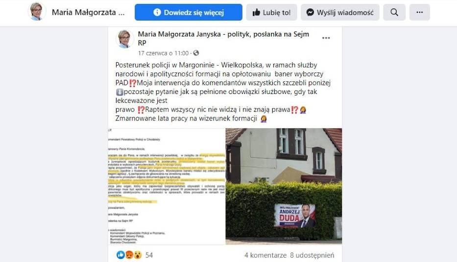 O interwencji w sprawie baneru wyborczego Maria Janyska informowała na swoim oficjalnym profilu na Facebooku