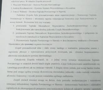 Mamy końcowy dokument - raport zespołu roboczego - dotyczący Szpitala Powiatowego w Sławnie