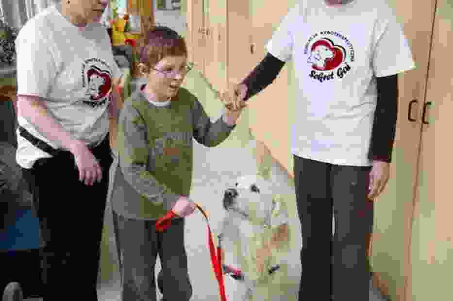 """Wspieranie dzieci chorych i niepełnosprawnych, przy użyciu odpowiednio wyszkolonych do tego celu psów, jest celem Fundacji """"Sekret Gai"""" z Lubonia koło Poznania"""