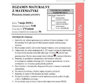 Matura 2018. Matematyka [odpowiedzi z egzaminu maturalnego, arkusze CKE]