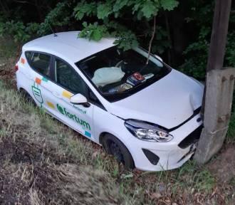 Ford firmy Fortum wypadł z DK 46 i uderzył w słup ZDJĘCIA