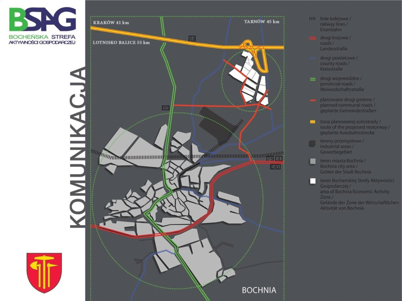 W porównaniu do obszaru Bochni (duże kółko) obszar strefy (małe kółko) jest spory