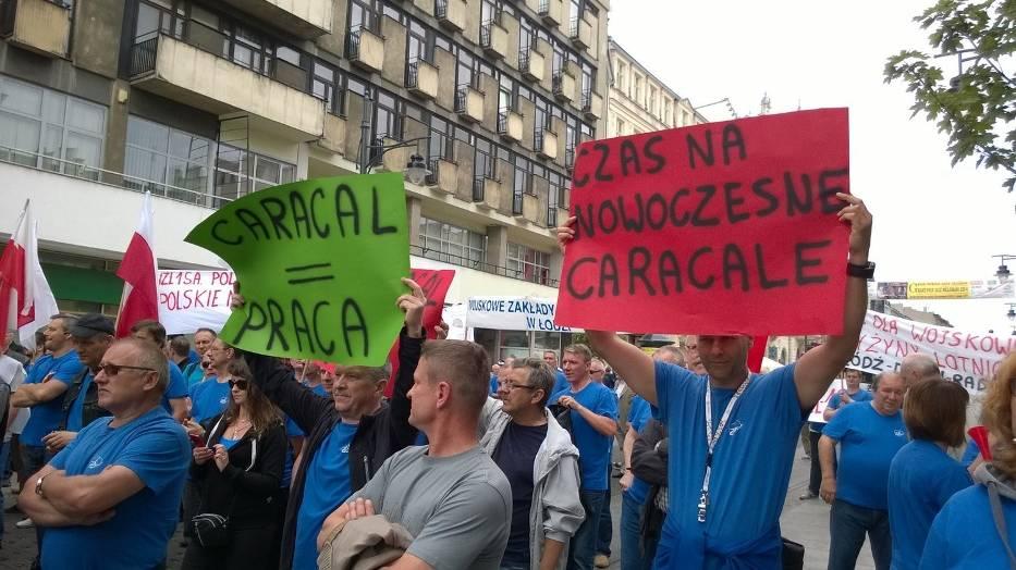 Protest pracowników WZL nr 1 w Łodzi