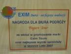 Nagroda od Exim Tours za najlepszą sprzedaż w 2007r.