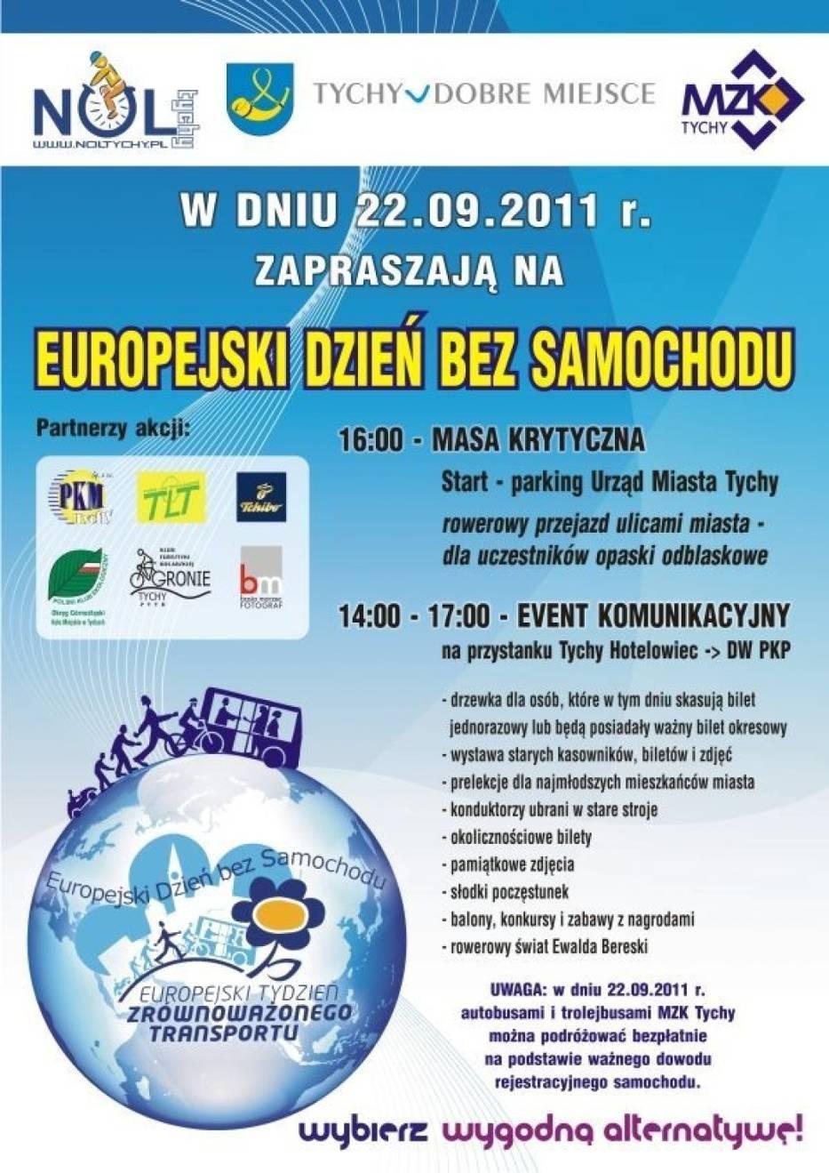 Plakat promujący tegoroczny Europejski Dzień Bez Samochodu w Tychach