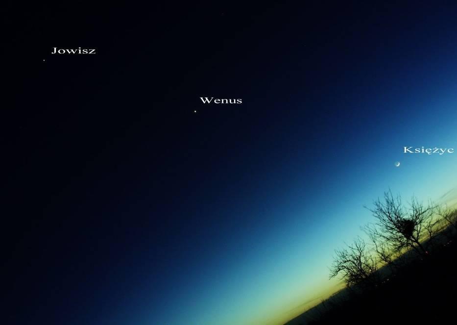 Zdjęcie wykonane w lutym 2012 roku podczas opozycji Jowisza, Wenus i Księżyca