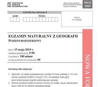 Matura 2019. Geografia p. rozszerzony - arkusz, odpowiedzi