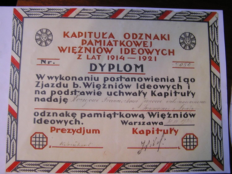 Dyplom nadania odznaki pamiątkowej więźniów ideowych