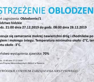 Ostrzeżenie o oblodzeniu dróg w województwie łódzkim