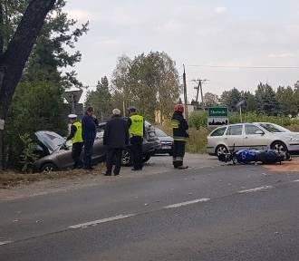 Wypadek z udziałem motocyklisty! 70-letni kierowca hyundaia wyjechał z leśnej drogi [zdjęcia]
