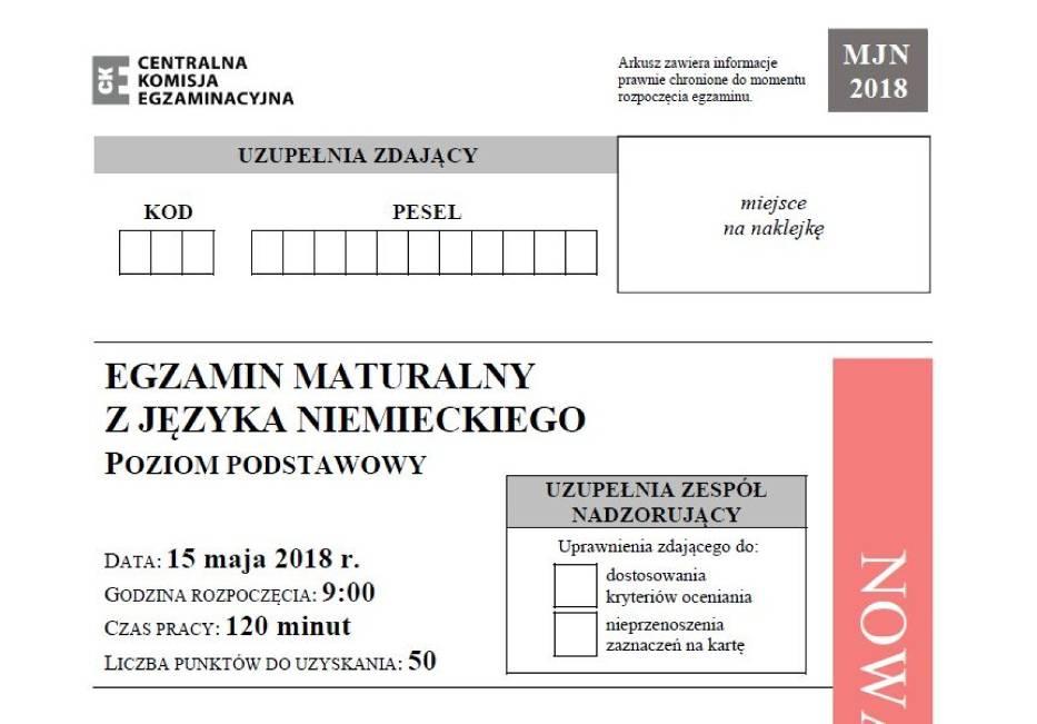 Matura 2018 - język niemiecki, poziom podstawowy - arkusze i odpowiedzi 15.05.2018