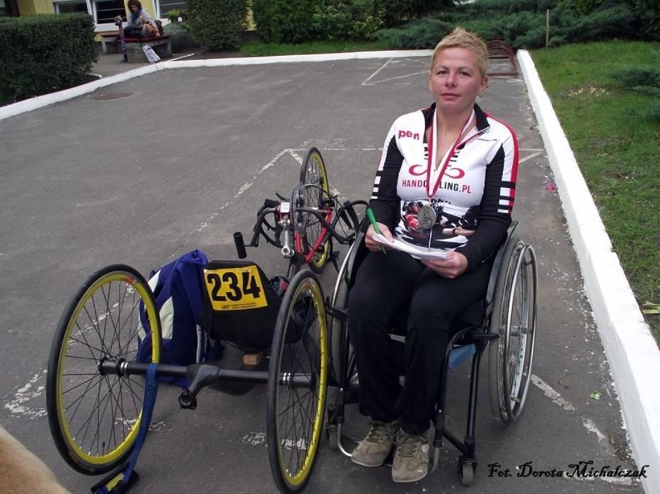 Ewa Kaczmarczyk po zakończonym biegu w Zbąszyniu