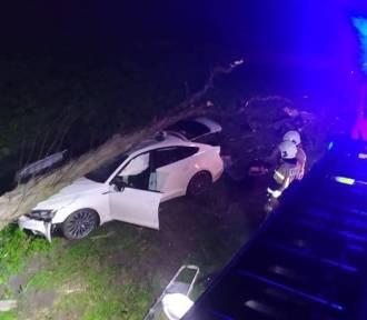 Wypadek pod Poznaniem: Samochód uderzył w drzewo. Jedna osoba ranna