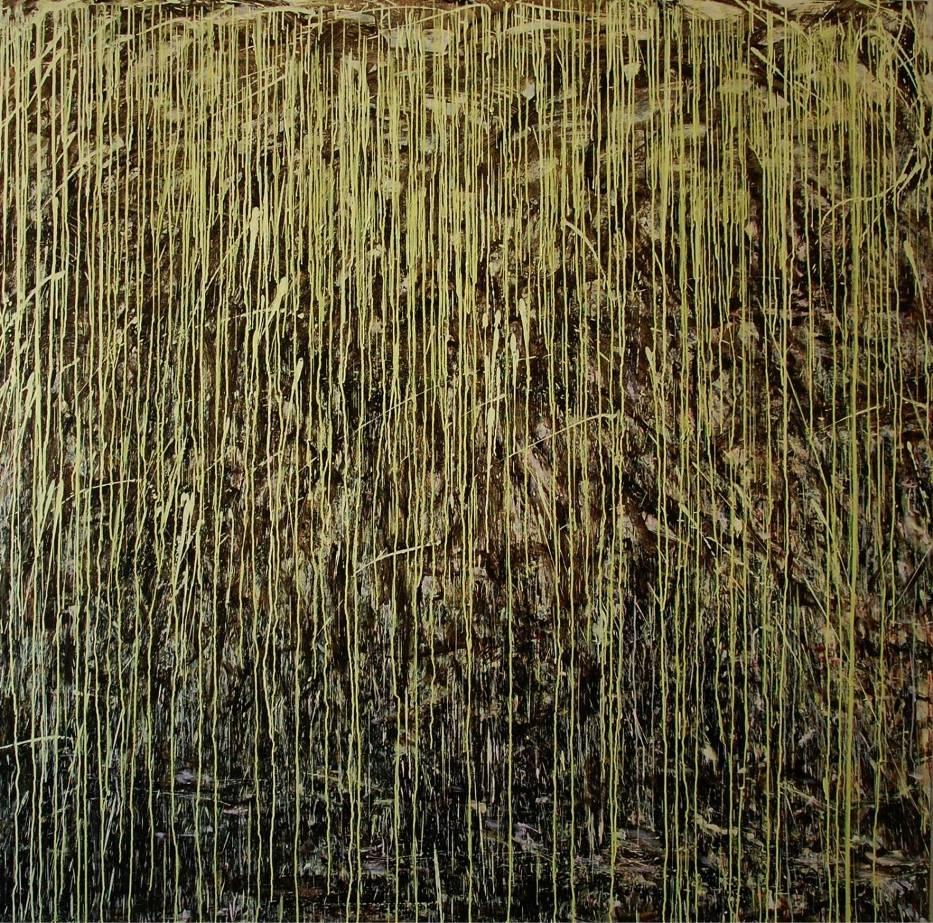 Bartosz Nalepa, Wierzba japońska, akryl na płótnie, 210 x 210 cm, 2015