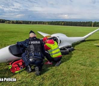 Wypadek szybowca szkoleniowego na terenie Aeroklubu. Służby ćwiczą umiejętności