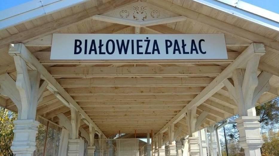 Stacja Pałac w Białowieży Znajduje się w nieczynnej obecnie końcowej stacji kolejowej, położonej w centrum Białowieży