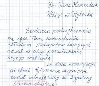 Żona zaginionego rybniczanina wysłała list do policji
