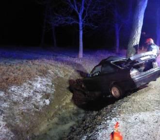 Wypadek na drodze wojewódzkiej 591. Samochód uderzył w drzewo [ZDJĘCIA]