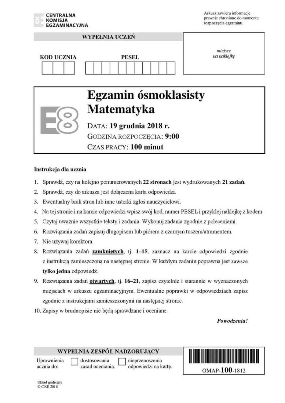 Próbny Egzamin Ósmoklasisty 2018