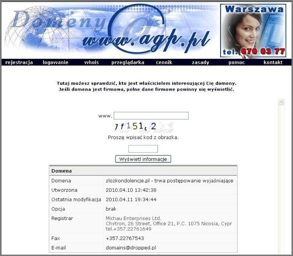 W internecie można sprawdzić gdzie domena została zarejestrowana