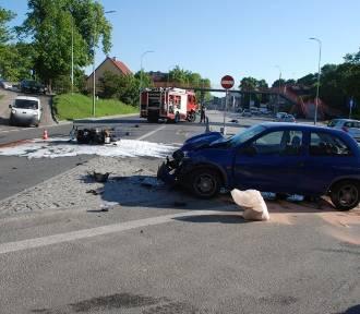 Wypadek z udziałem motocyklisty na Trakcie św. Wojciecha