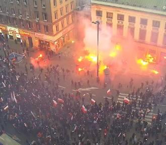 Zadyma na Marszu Niepodległoścu. Nowy film z monitoringu