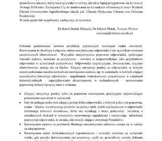 Matura z chemii 2018 r. z Wydziałem Chemii Uniwersytetu Jagiellońskiego [ODPOWIEDZI]