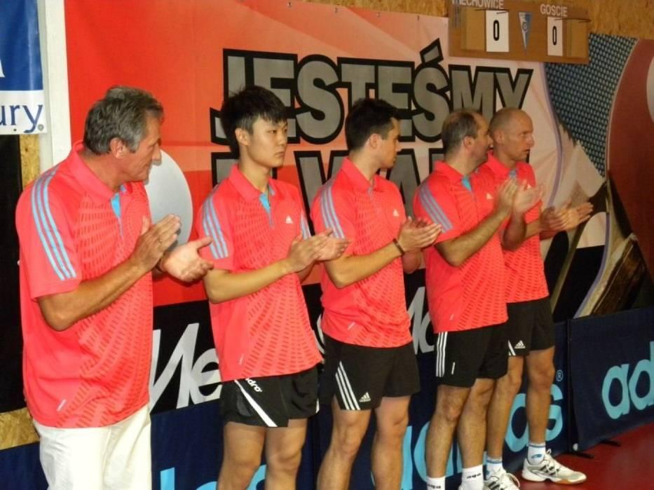 Armada BTTS SILESIA Miechowice, od lewej Michał Napierała-trener, Wang Chen, Martin Pavlica, Grzegorz Iwaniuk i Jarosław Tomicki