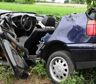 Wypadek na drodze Sieraków - Kwilcz na wysokości miejscowości Grobia