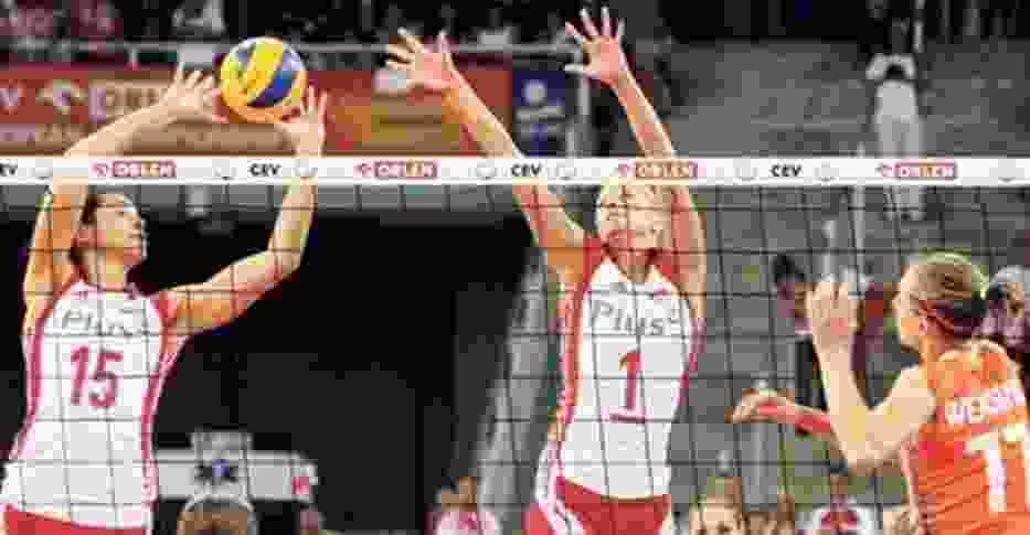 Polski blok - Katarzyna Gajgał (nr 15) i Anna Barańska (nr 1) - zbyt rzadko radził sobie z atakami Holenderek